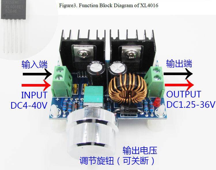 cz-m401 dc-dc降压模组xl4016大功率直流调压板 最大8a带稳压